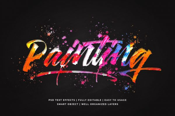 painting 3d text style effect mockup