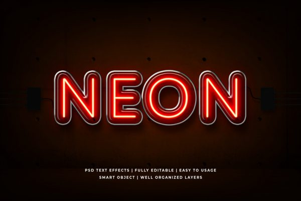 Red neon 3d text style effect Premium Psd