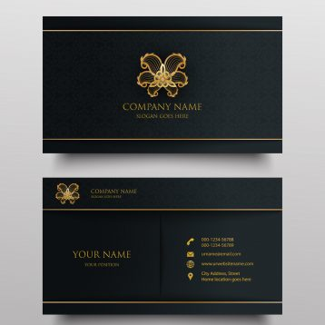 Luxury business card with gold floral ornamental logo and place for text on dark background